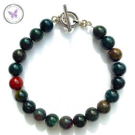 Bloodstone Healing Bracelet with Silver Toggle Clasp